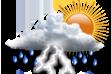 Ícone de condição de tempo: Nublado e Pancadas de Chuva
